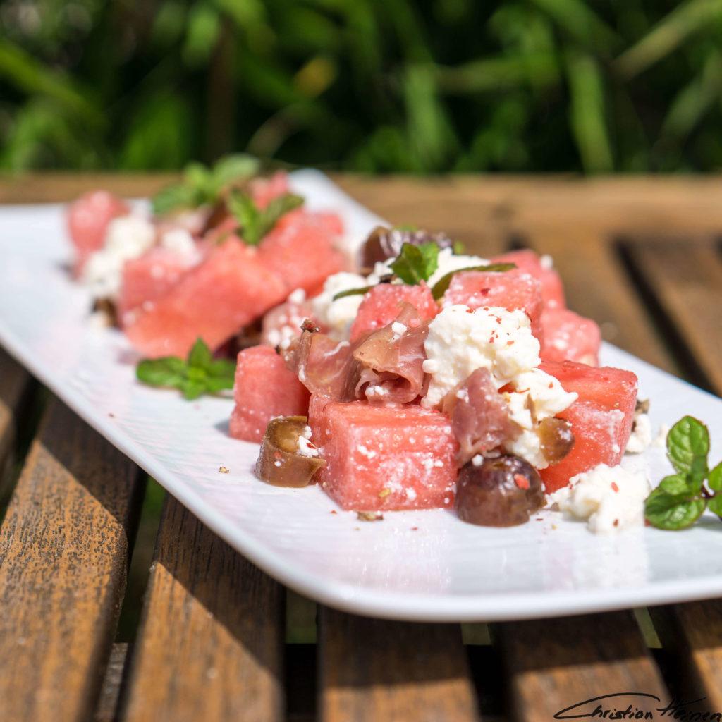 Sommer Salat salad melone datteln gesund ernährung healthy kalorien foodphotography